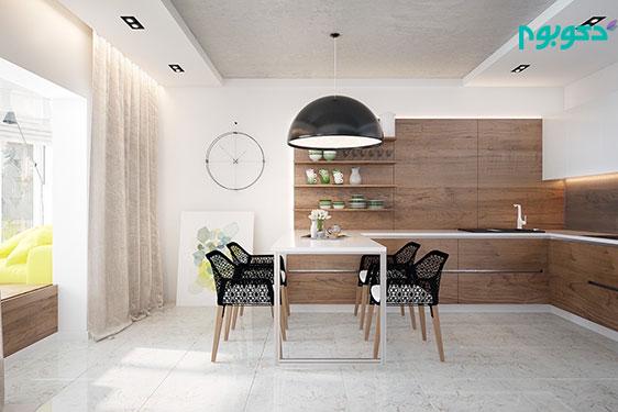 نمونه دکوراسیون اتاق غذاخوری با پس زمینه ی سفید و میز های چوبی