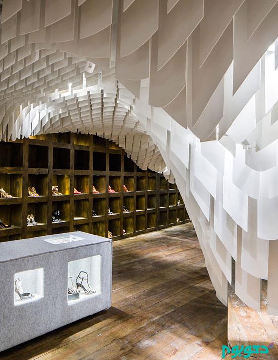 طراحی داخلی فروشگاه لباس با قطعات فایبر گلاس