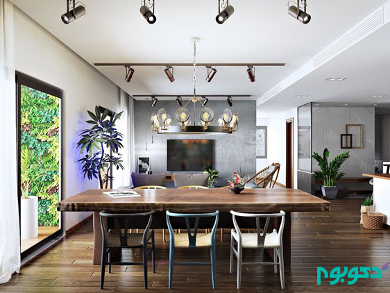 art-deco-chandelier-wooden-floor-wooden-table-scandinavian-living-room