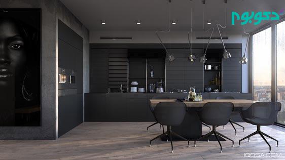 تاثیر سحر آمیز رنگ مشکی در دکوراسیون داخلی آشپزخانه