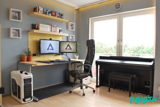 bachelor-pad-study-area-white-wood-and-black-leather-functional