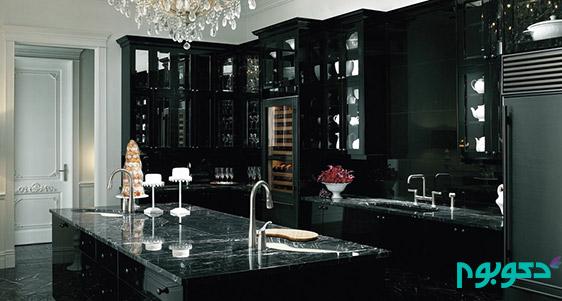 دکوراسیون داخلی آشپزخانه با رنگ های تیره