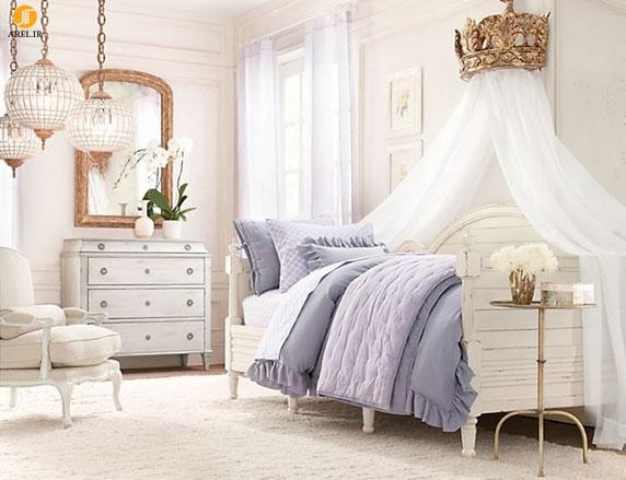 Blue white girls bedroom 665x510 دکوراسیون های داخلی اتاق خواب دخترانه