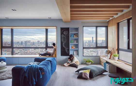 طراحی داخلی آپارتمان با رنگ های خنک زمستانی