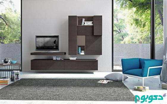 طراحی نشیمن مدرن با استفاده از فضاهای ذخیره سازی