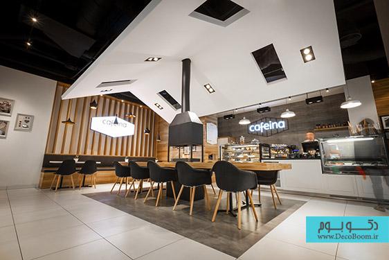"""دکوراسیون داخلی کافه """"کافئین"""""""