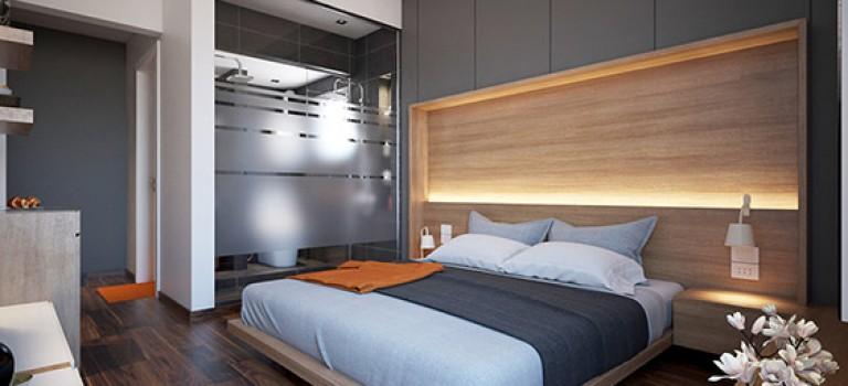 طراحی و دکوراسیون اتاق خواب مدرن: طرح روی دیوار