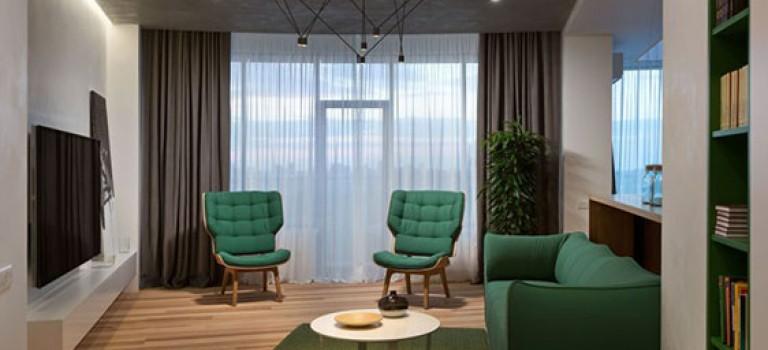 دکوراسیون داخلی آپارتمان مینیمال با سبز جنگلی
