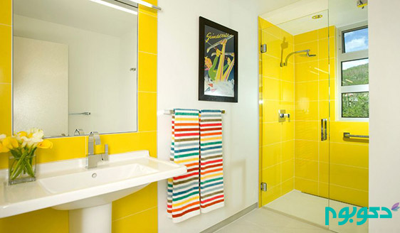 Modern-bathroom-design-with-yellow-tiles