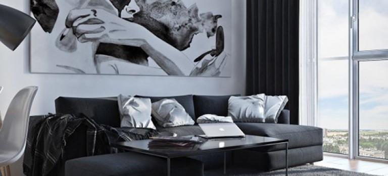 طراحی داخلی خانه مدرن با رنگ های سفید و سیاه