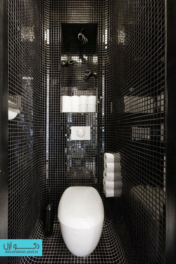 دکوراسیون داخلی حمام با ترکیب رنگ های سیاه و سفید : 9 نمونه