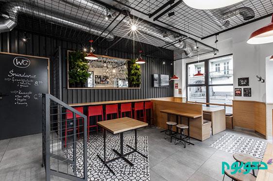 طراحی داخلی رستوران و دیوار های فولادی