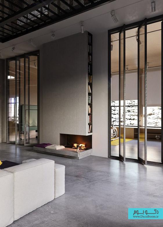 دکوراسیون داخلی آپارتمان به سبک صنعتی و پیشرفته