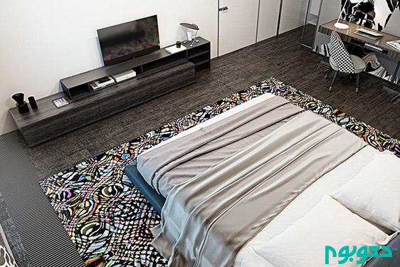 دکوراسیون اتاق خواب با رنگ های تیره
