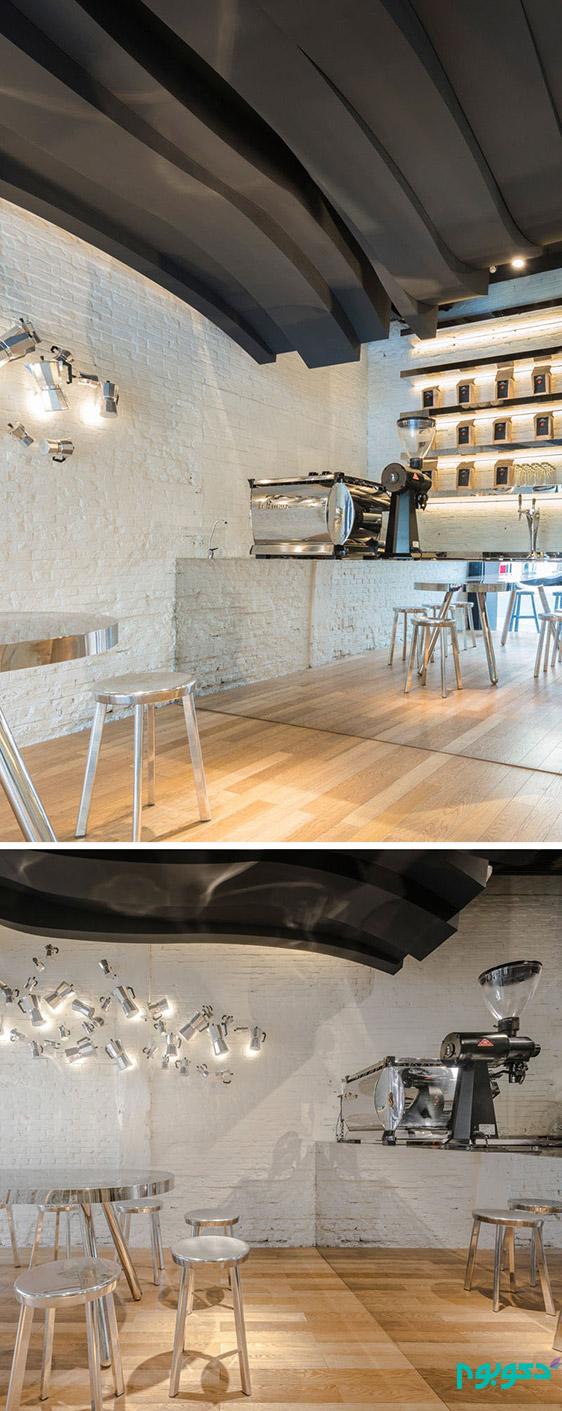 طراحی خاص سقف در دکوراسیون داخلی این کافی شاپ