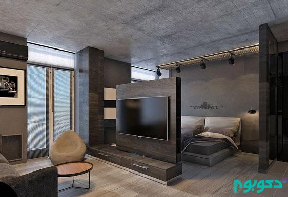 طراحی داخلی نشیمن با هویت رنگ مشکی