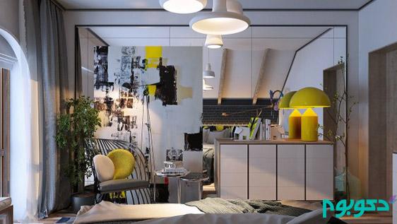 دکوراسیون داخلی اتاق خواب با آثار هنری و بافت های متنوع