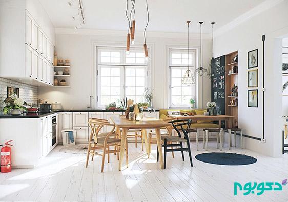 دکوراسیون اتاق غذا خوری، ترکیب چوب و رنگ سفید