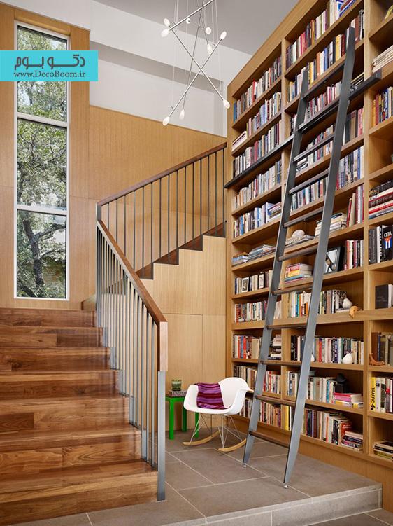 قفسه کتاب،دکوراسیون داخلی،قفسه کتاب در نشیمن