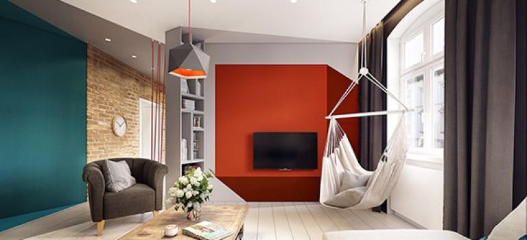 طراحی داخلی خانه مدرن با رنگ های مکمل نارنجی و آبی