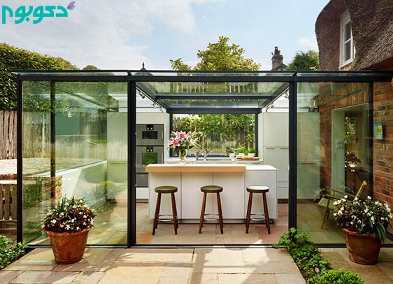 آشپزخانه شیشه ای بر روی بام