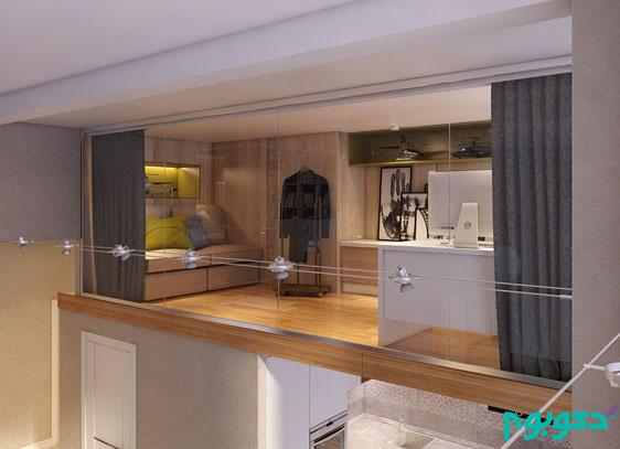 دکوراسیون داخلی خانه های بزرگ: طراحی خانه دوبلکس با پنجره های بزرگ