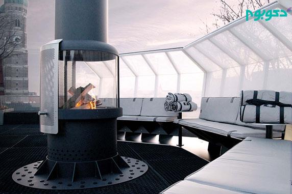 طراحی فضای باز با شومینه برای رستوران و کافه مناسب روزهای سرد سال