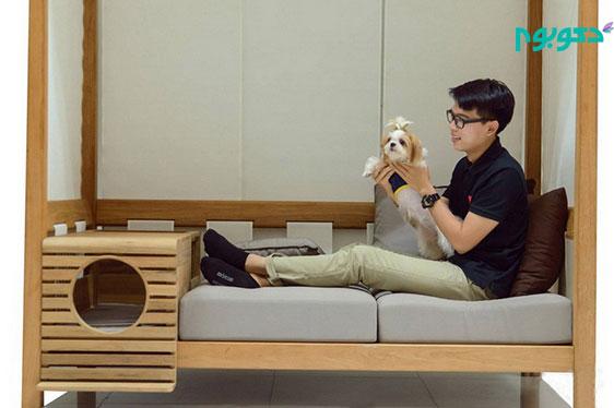 طراحی نیمکت چوبی به همراه جعبه ای برای نگهداری سگ و گربه