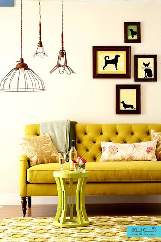 مبلمان زرد رنگ در دکوراسیون داخلی نشیمن