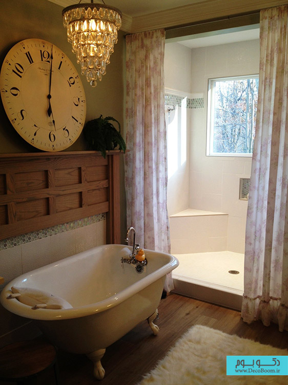 interior-bathroom-vintage-guest-bathroom-ideas-with-white-acrylic-clawfoot-bathtub-on-unstained-wooden-floor-also-white-bath-rug-plus-flower-pattern-shower-curtain-with-bath-ideas-also-vanity-cabinet