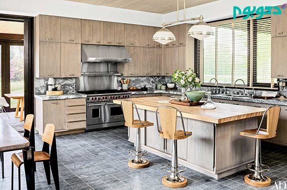 دکوراسیون آشپزخانه با نورپردازی درخشان