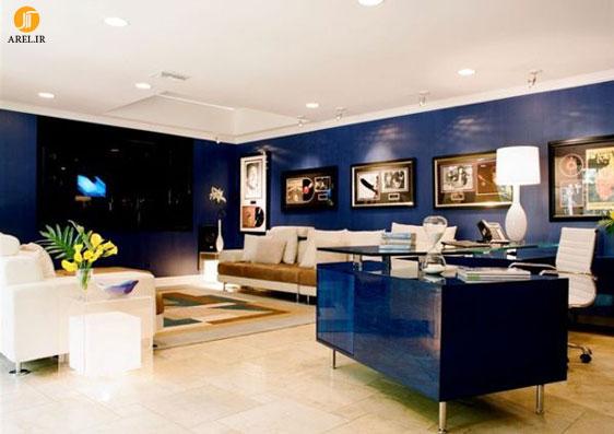 دکوراسیون سالن نشیمن با رنگ آبی