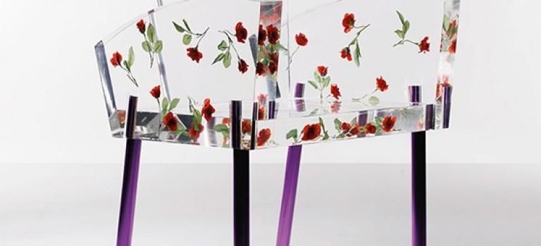 گل های رز در طراحی صندلی