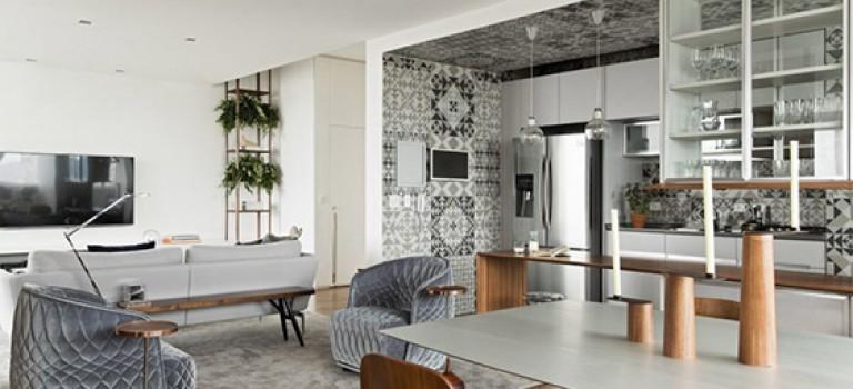 دکوراسیون داخلی آپارتمان مدرن و سرامیک های طرح دار