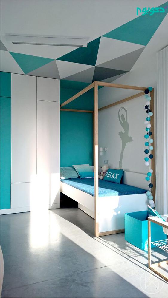 دکوراسیون داخلی مینیمال با رنگ آبی هیجان انگیز