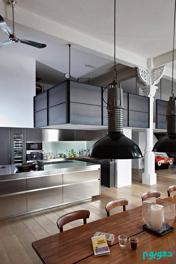 دکوراسیون منزل با سبک صنعتی در آمستردام
