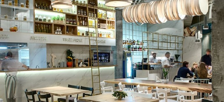 طراحی داخلی رستوران، لامپ های اسپاگتی!