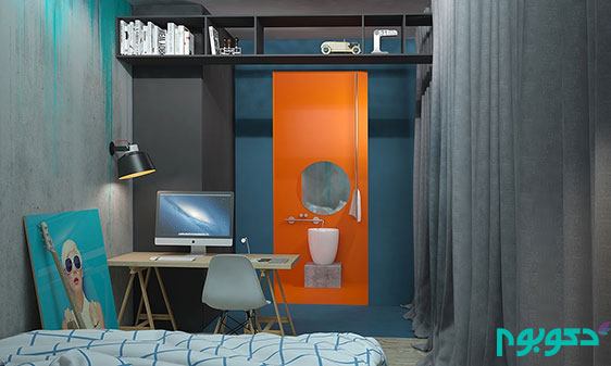دکوراسیون آبی و قرمز آپارتمان با متراژ 75 متر مربع