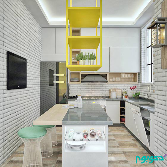 scandinavian-exposed-brick-kitchen-yellow-accents
