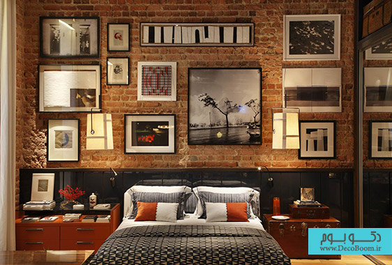 uncategorized-brown-brick-wall-ornament-with-pictures-plus-black-wall-panel-with-white-black-bed-between-brown-wooden-side-table-mesmerezing-exposed-brick-interior-walls-give-different-look-for-your
