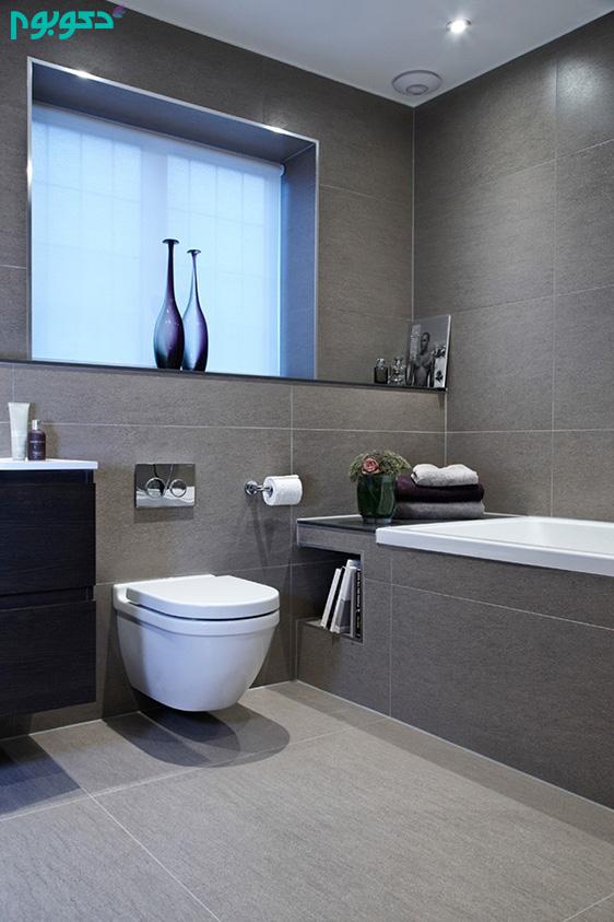 دکوراسیون داخلی سرویس بهداشتی با رنگ های سفید و خاکستری