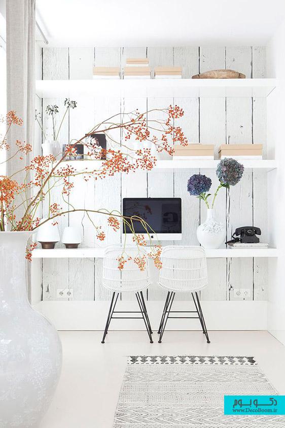 دکوراسیون دفتر کار با میز سفید