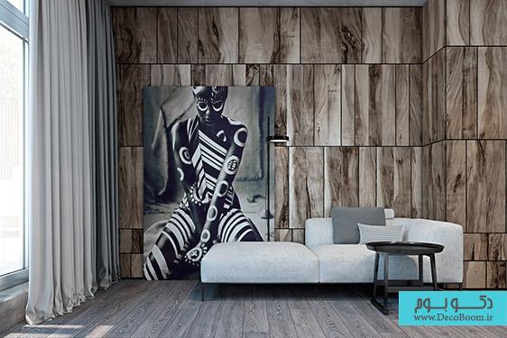 دکوراسیون داخلی با رنگ های تیره و سبک مدرن