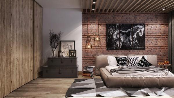 استفاده از آجر و چوب در اتاق خواب