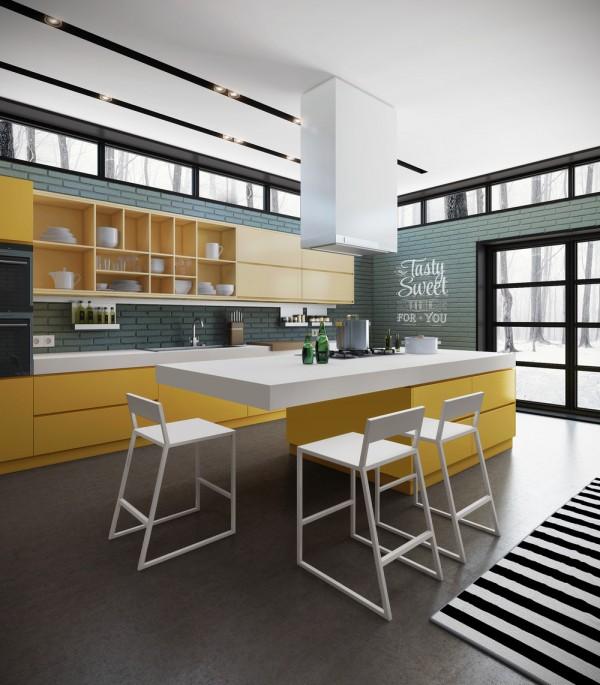 آشپزخانه به رنگ نارنجی