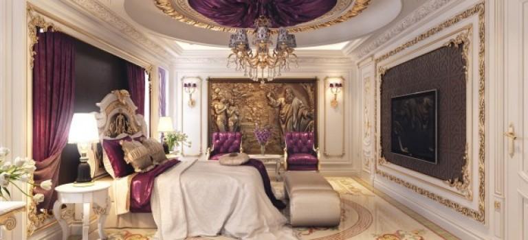 اتاق خواب کلاسیک و لوکس با رنگ بنفش