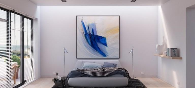 اتاق خواب روشن و ساده با رنگ های آبی و سفید