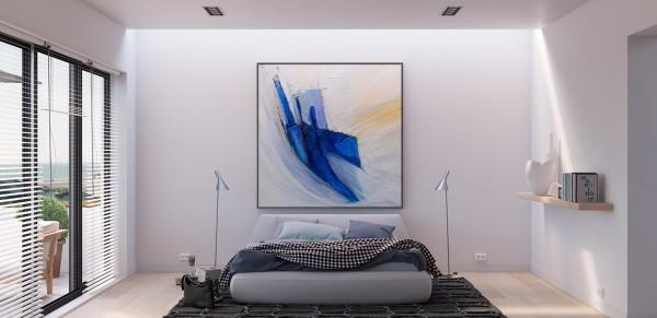 اتاق خواب روشن با رنگ های آبی و سفید