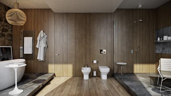 دکوراسیون داخلی سرویس بهداشتی با چوب