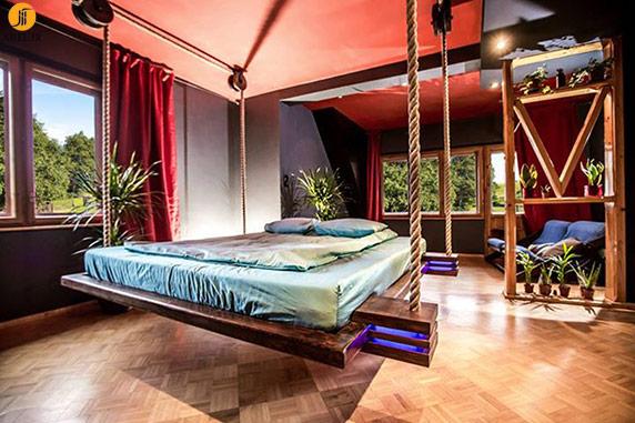 طراحی تخت خواب معلق و زیبا برای دکوراسیون داخلی اتاق خواب